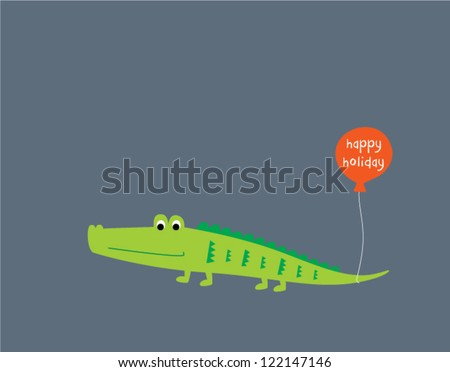 cute crocodile holiday - stock vector