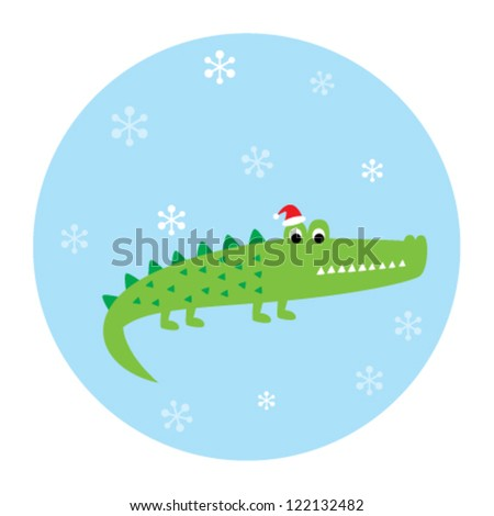 cute crocodile in christmas time - stock vector