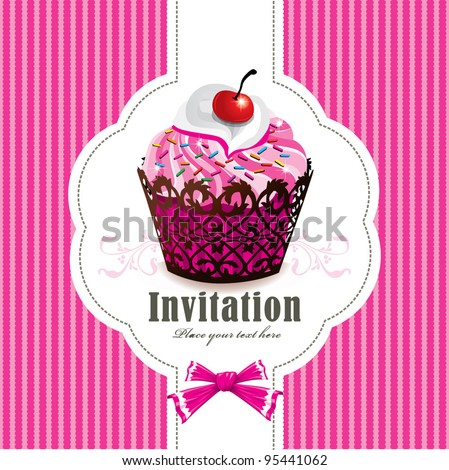 Cute cup cake design I - stock vector