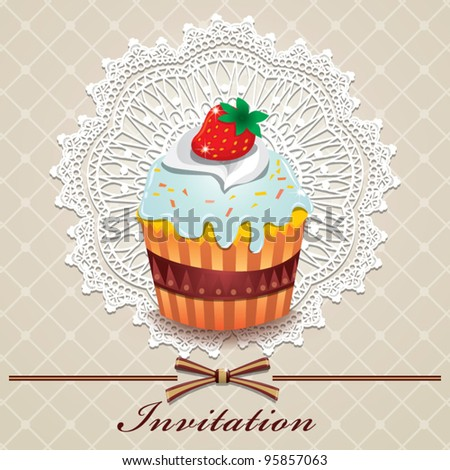Cute cupcake design (K) - stock vector
