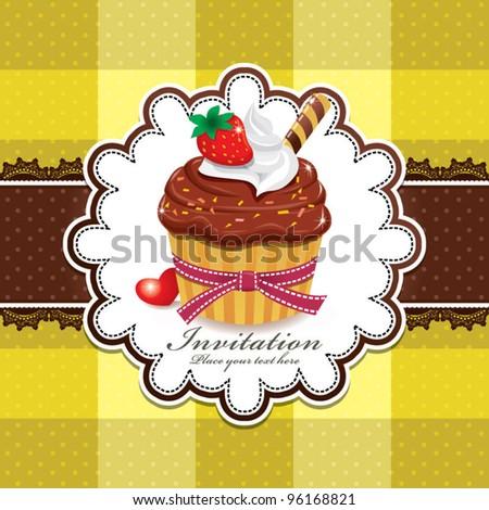 Cute cupcake design with lace (U) - stock vector