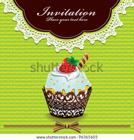 Cute cupcake design with lace (V) - stock vector