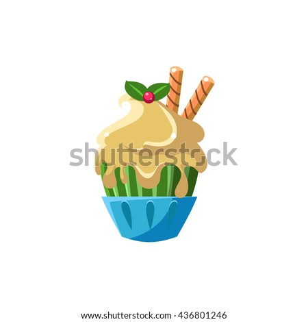 Cute Cupcake With White Icing Flat Vector Cute Girly Style Isolated Sticker On White Background - stock vector