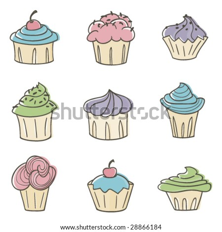 Cute Cupcakes - stock vector