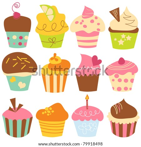 Cute cupcakes set - stock vector