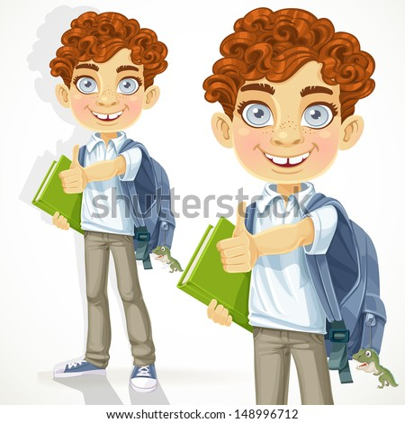 Cute curly-haired boy with books and school backpack - stock vector