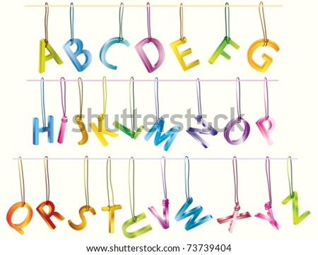 Cute 3d alphabet (caps) on the strings - stock vector