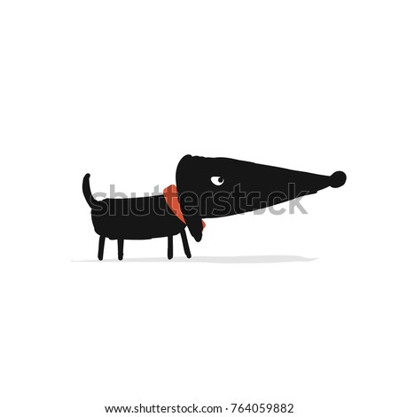 Cute dachshund dog, sketch for your design. Vector illustration