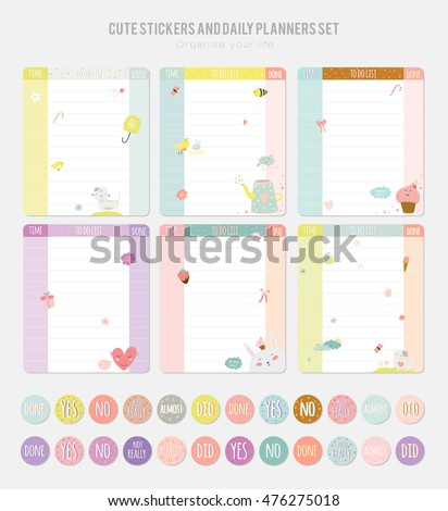 Cute Daily Calendar Template Note Paper Stock Photo Photo Vector