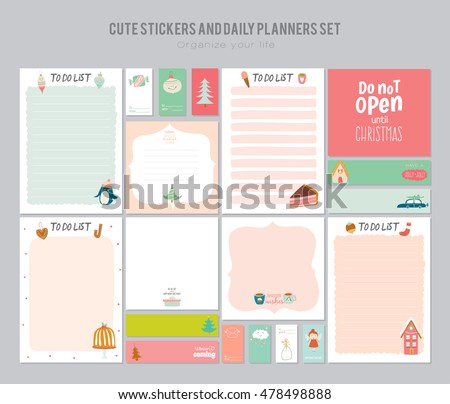 Cute Daily Note Template Notebook Paper Stock Vector