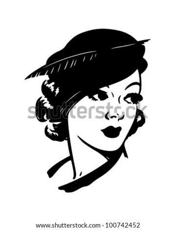 Cute Dame - Retro Clipart Illustration - stock vector