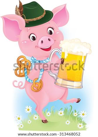 Cute dancing piglet is holding beer and pretzels - stock vector