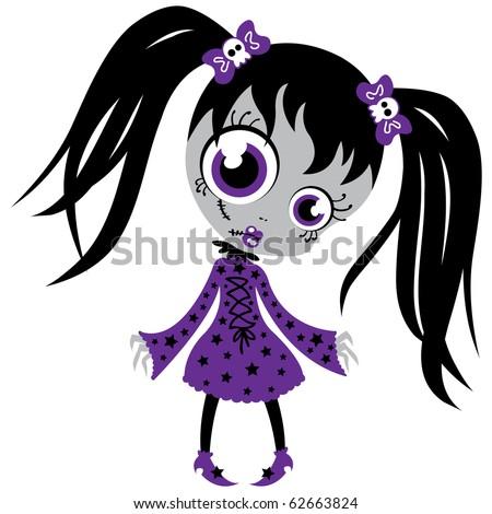 Cute dead girl. - stock vector