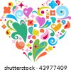 cute decorative heart for Valentine's day greeting card with many design elements - stock vector