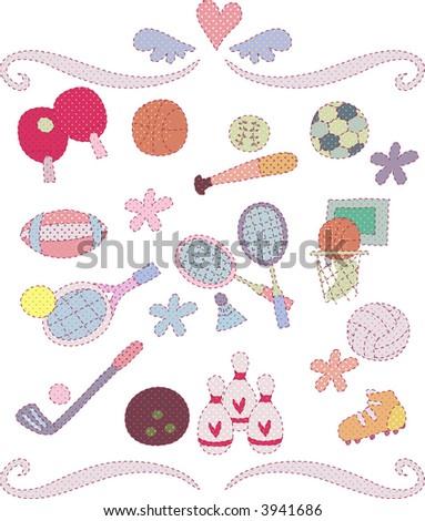 cute decorative set 02 - stock vector