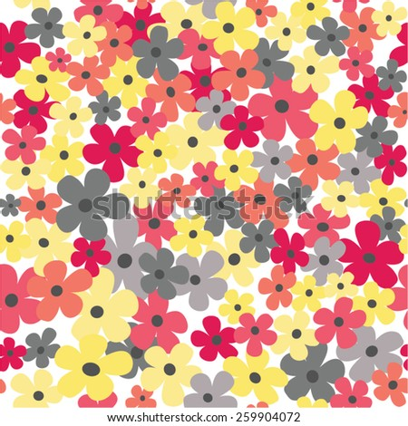 Cute delicate autumn colors and grey flowers seamless background - stock vector