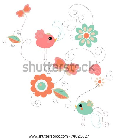 Cute delicate background - stock vector