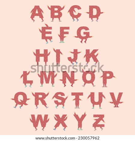 Cute digital isolated english alphabet with tiny hands and legs - stock vector