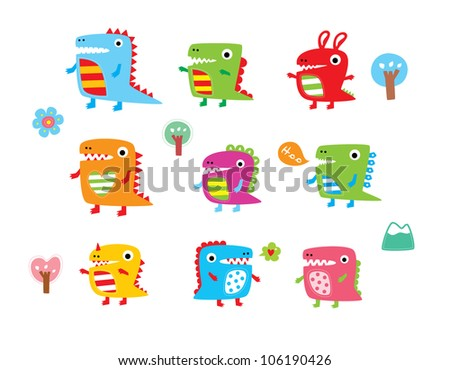 cute dinosaur collection - stock vector