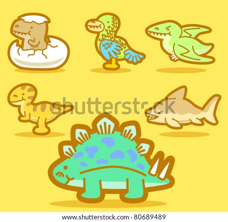 cute dinosaur collection | Vector illustration, cute doodle - stock vector