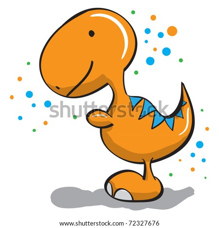 Cute dinosaur - everything grouped for easy use - stock vector