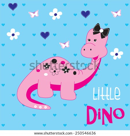 cute dinosaur girl with butterfly vector illustration
