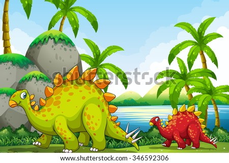 Cute dinosaurs in the park illustration - stock vector