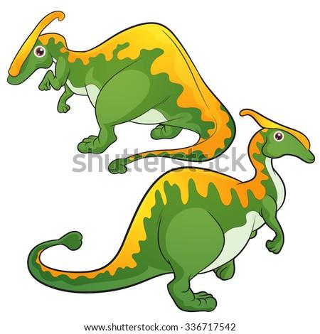 Cute Dinosaurs vector cartoon Parasaurolophus - stock vector