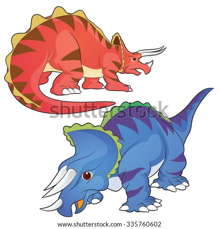 Cute Dinosaurs vector cartoon triceratops actions