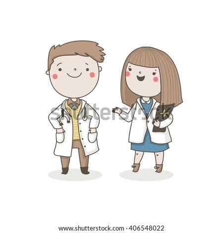 Cute doctors. Vector characters - stock vector