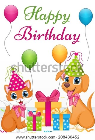 Cute dog and cat birthday card - stock vector