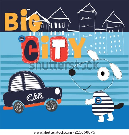 cute dog by car in the city vector illustration - stock vector