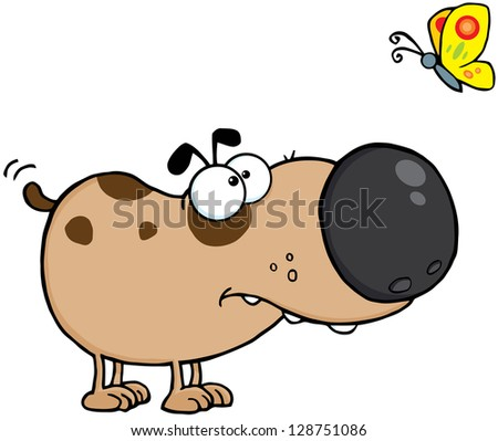 Cute Dog Cartoon Mascot Character With Butterfly - stock vector