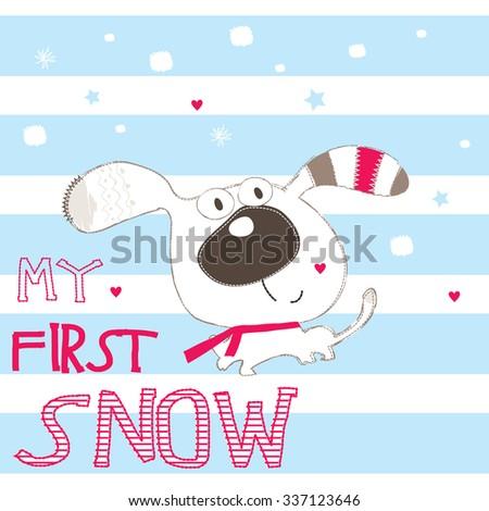 cute dog cartoon on striped background vector illustration - stock vector