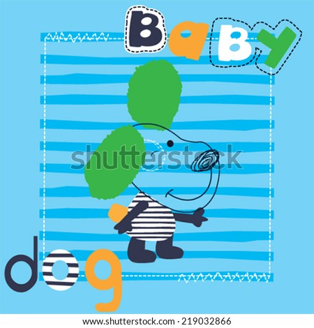 cute dog cartoon striped background vector illustration - stock vector