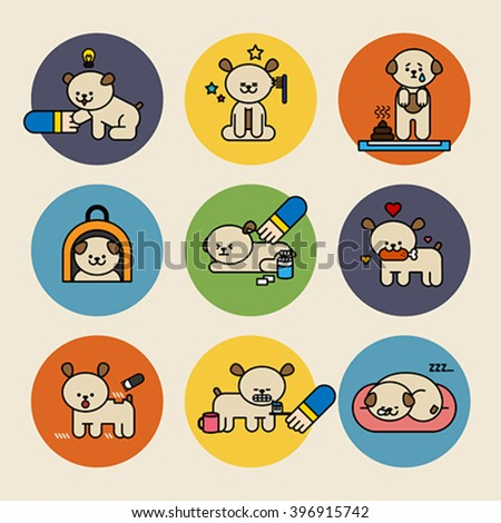 Cute dog day line vector