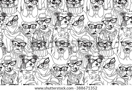 Cute dog fashion hipster black seamless pattern. Black and white vector illustration. EPS8