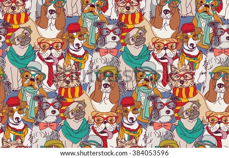 Cute dog fashion hipster seamless pattern.  Color vector illustration. EPS8 - stock vector