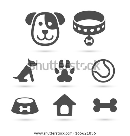Cute dog icons set isolated on white. Vector element - stock vector