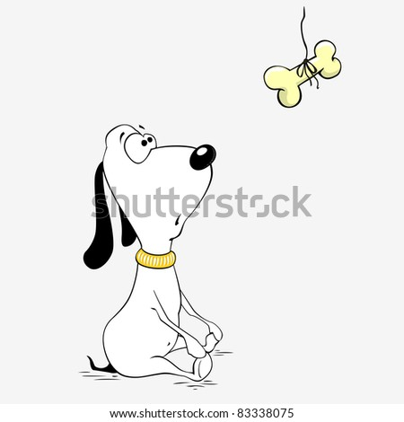Cute dog is looking on the bone - stock vector