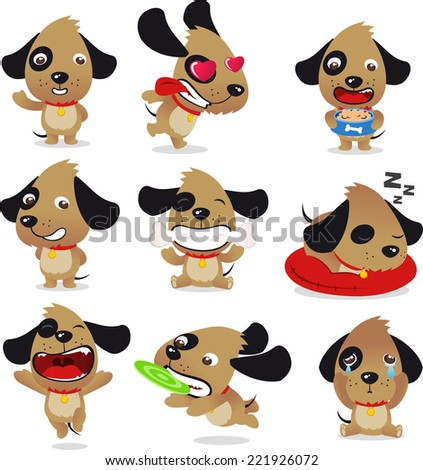 Cute Dog Puppy Whelp Pet Kennel Canine Collection, vector illustration cartoon. - stock vector