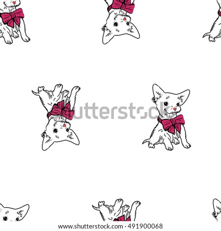 Download Puppies Bow Adorable Dog - stock-vector-cute-dog-puppy-with-bow-seamless-pattern-491900068  Gallery_74289  .jpg