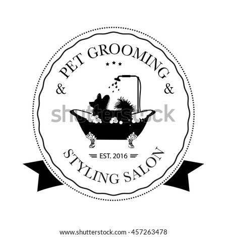 Cute dog taking shower bath logo stock vector 457263478 for A bath and a biscuit grooming salon