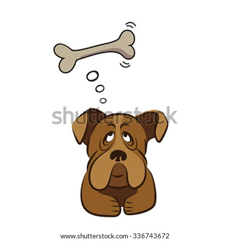 Cute dog thinking about bone, vector illustration - stock vector