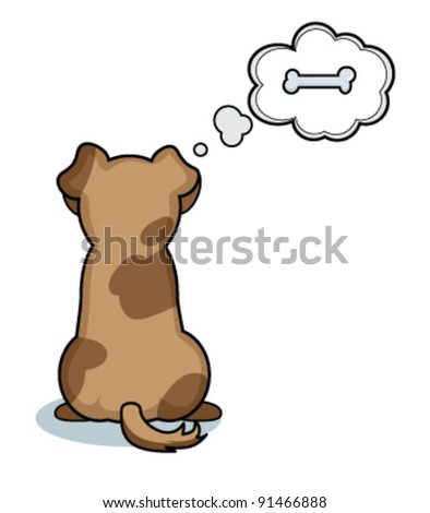 Cute doggy with a bone - stock vector