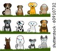 cute dogs - stock vector