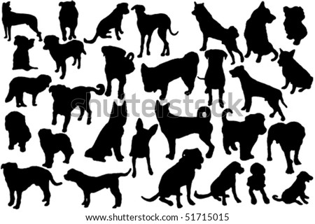cute dogs silhouette set