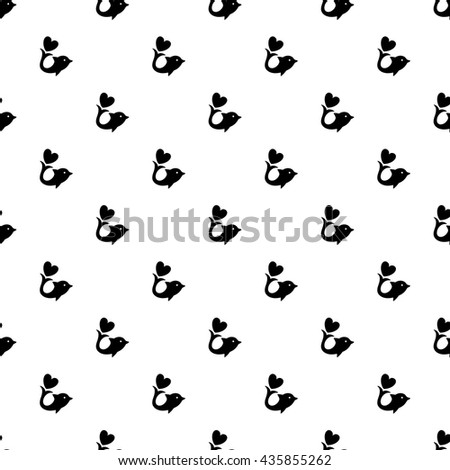 Cute dolphins vector seamless pattern, monochrome, graphic, tile, fish, sea, black, seamless, abstract, heart, cute, symbol, element, texture, design, elegance, silhouette, pet, love, summer - stock vector