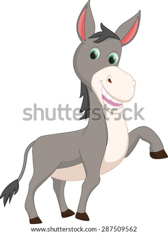 cute donkey cartoon - stock vector