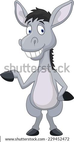 Cute donkey cartoon waving hand - stock vector